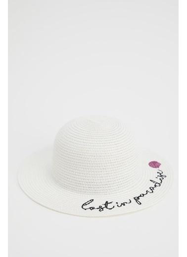 DeFacto Kız Çocuk Yazı İşlemeli Hasır Şapka Beyaz